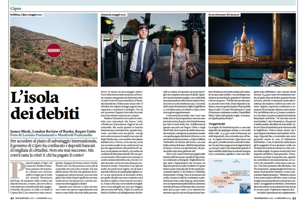 "Roundabout#Cyprus is on Internazionale Magazine, illustrating a <a href=""http://www.lrb.co.uk/v35/n09/james-meek/the-depositor-haircut"" target=""_blank""> brilliant article</a> by James Meek on the financial crisis in the island"