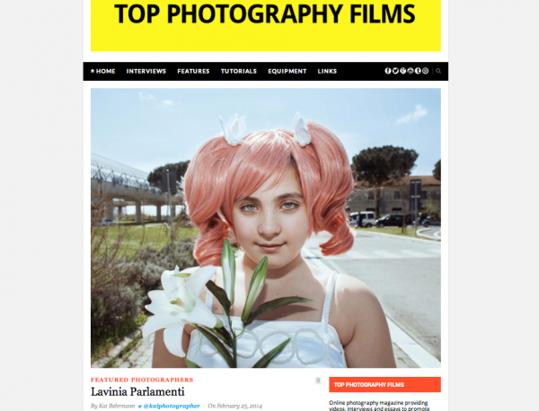 "a nice interview by Kay Bergman on his blog <a href=""http://www.topphotographyfilms.com/photographers-featured-on-the-blog/lavinia-parlamenti/"" target=""_blank"">Top Photography Film</a>"